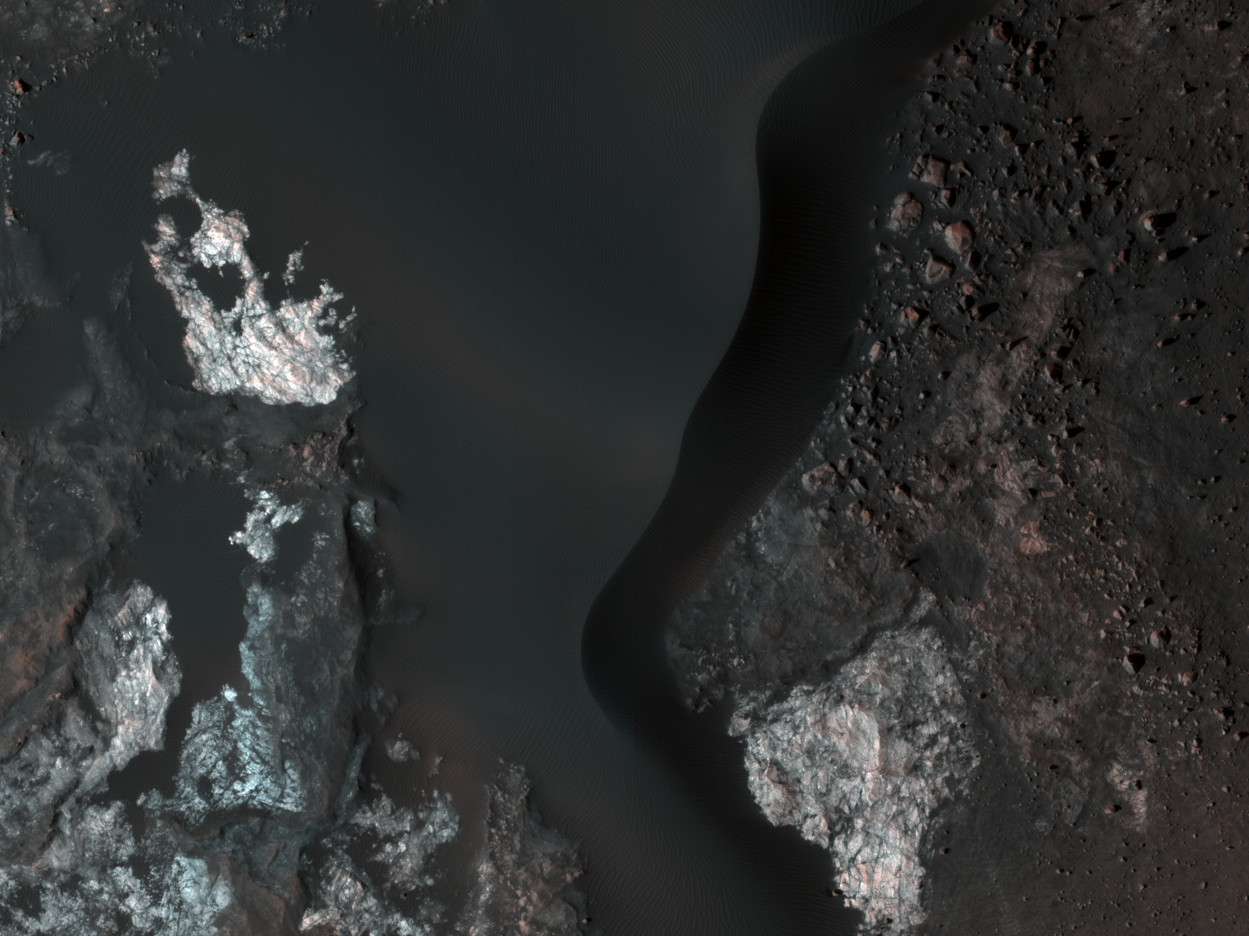 Colorful Bedrock in a Northern Plains Crater