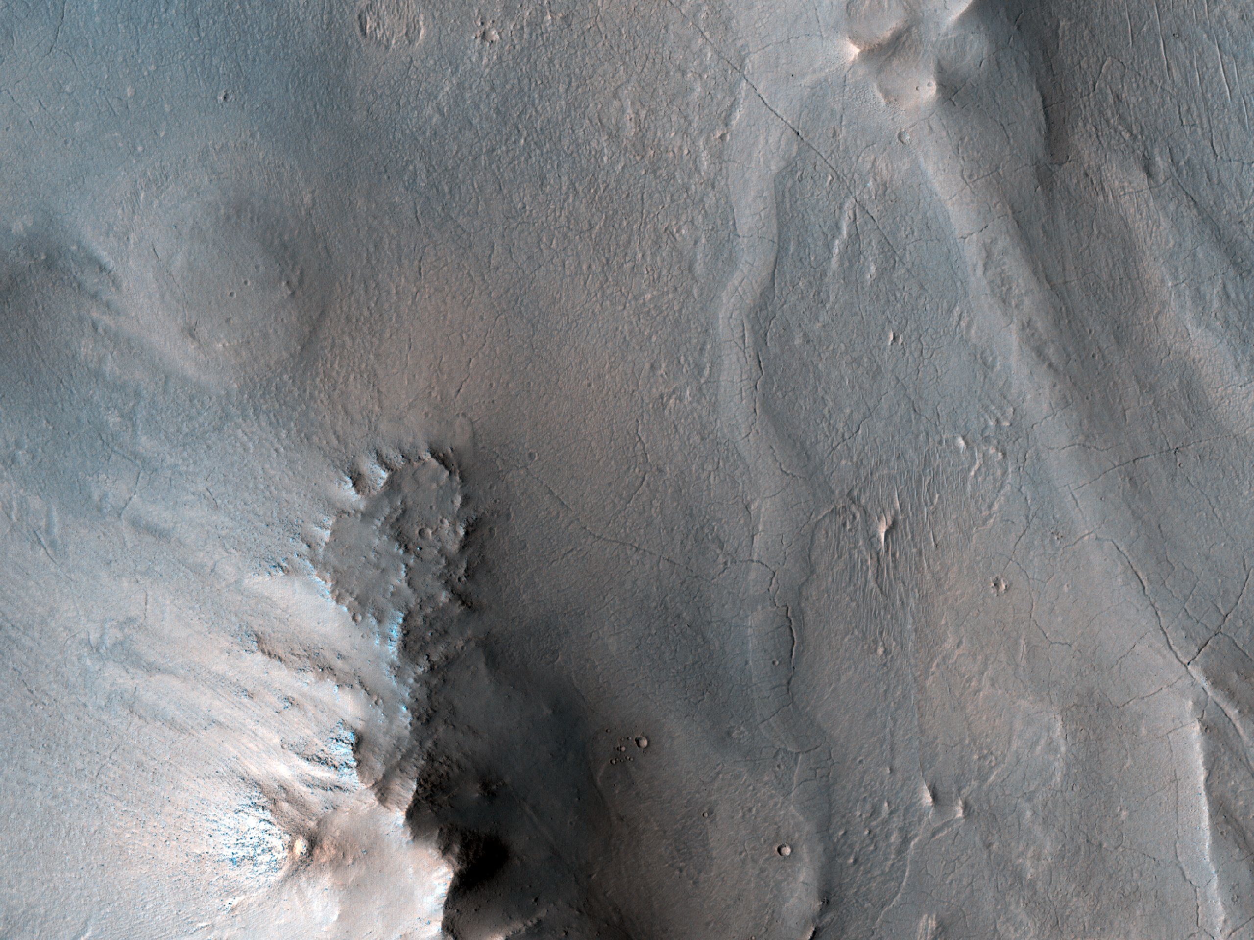 Branched Sinuous Ridges on Wall in Crater within Antoniadi Crater