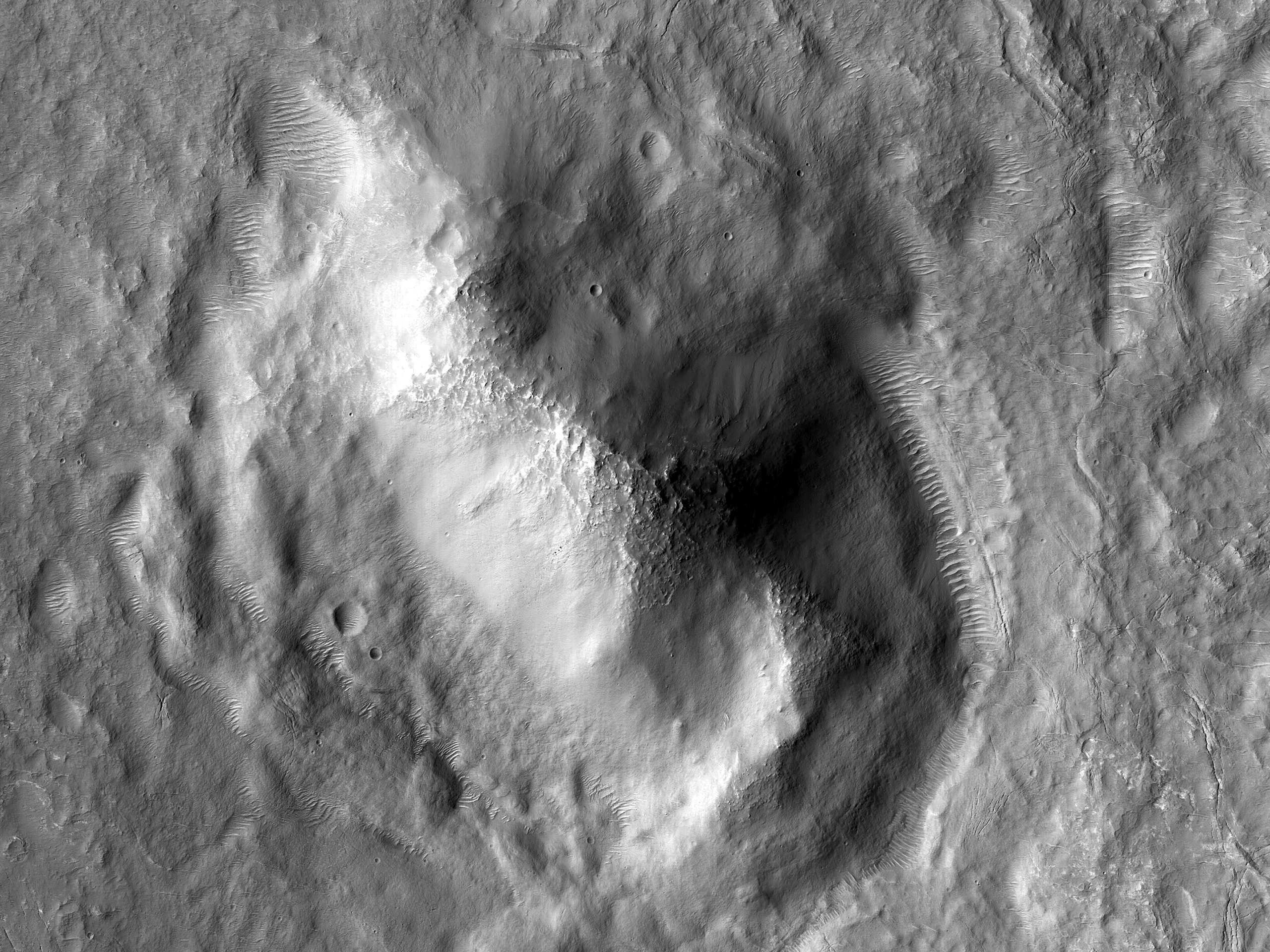 Landforms on the Floor of a Crater