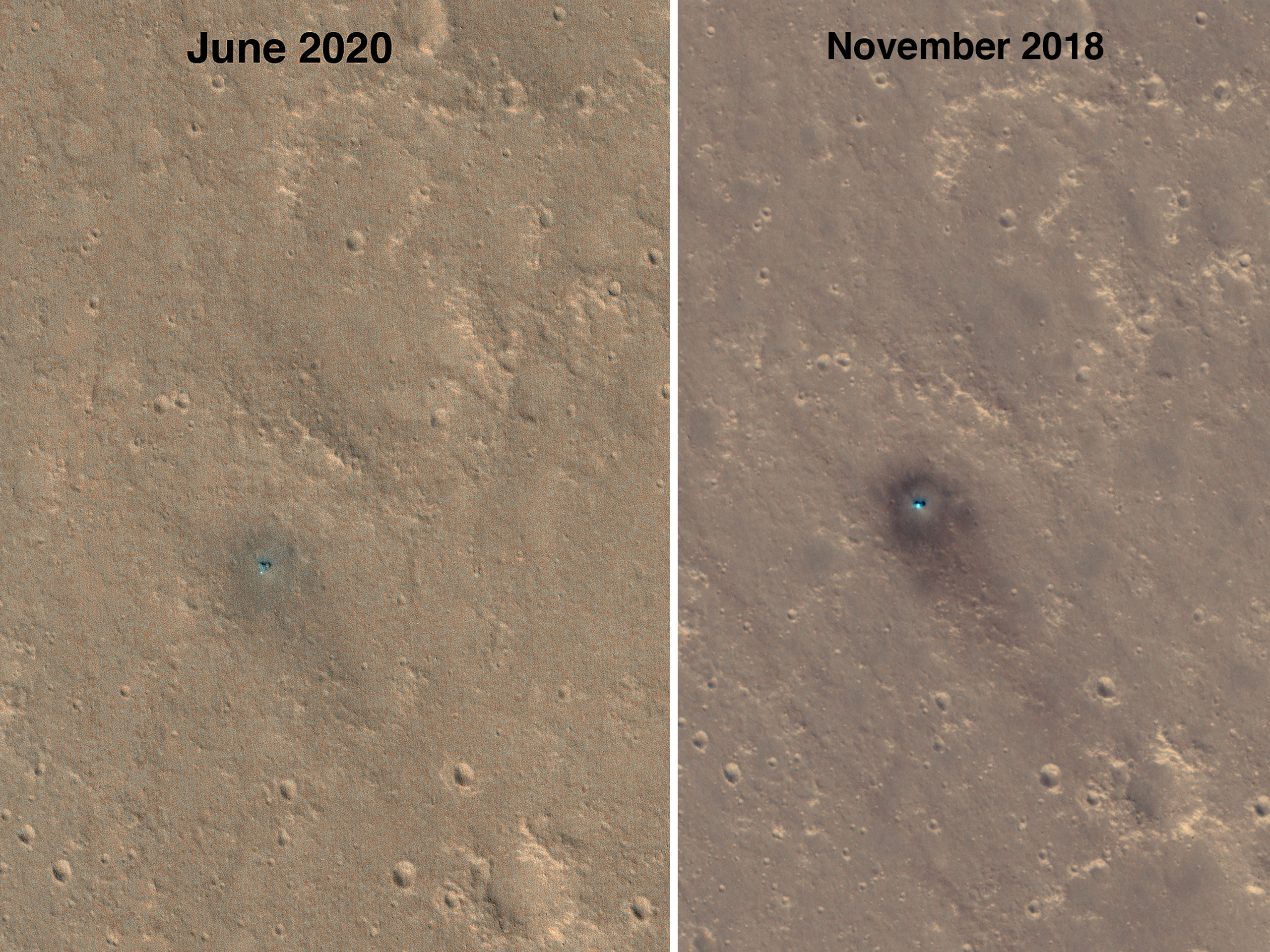 Fading Dark Spot at the InSight Landing Site