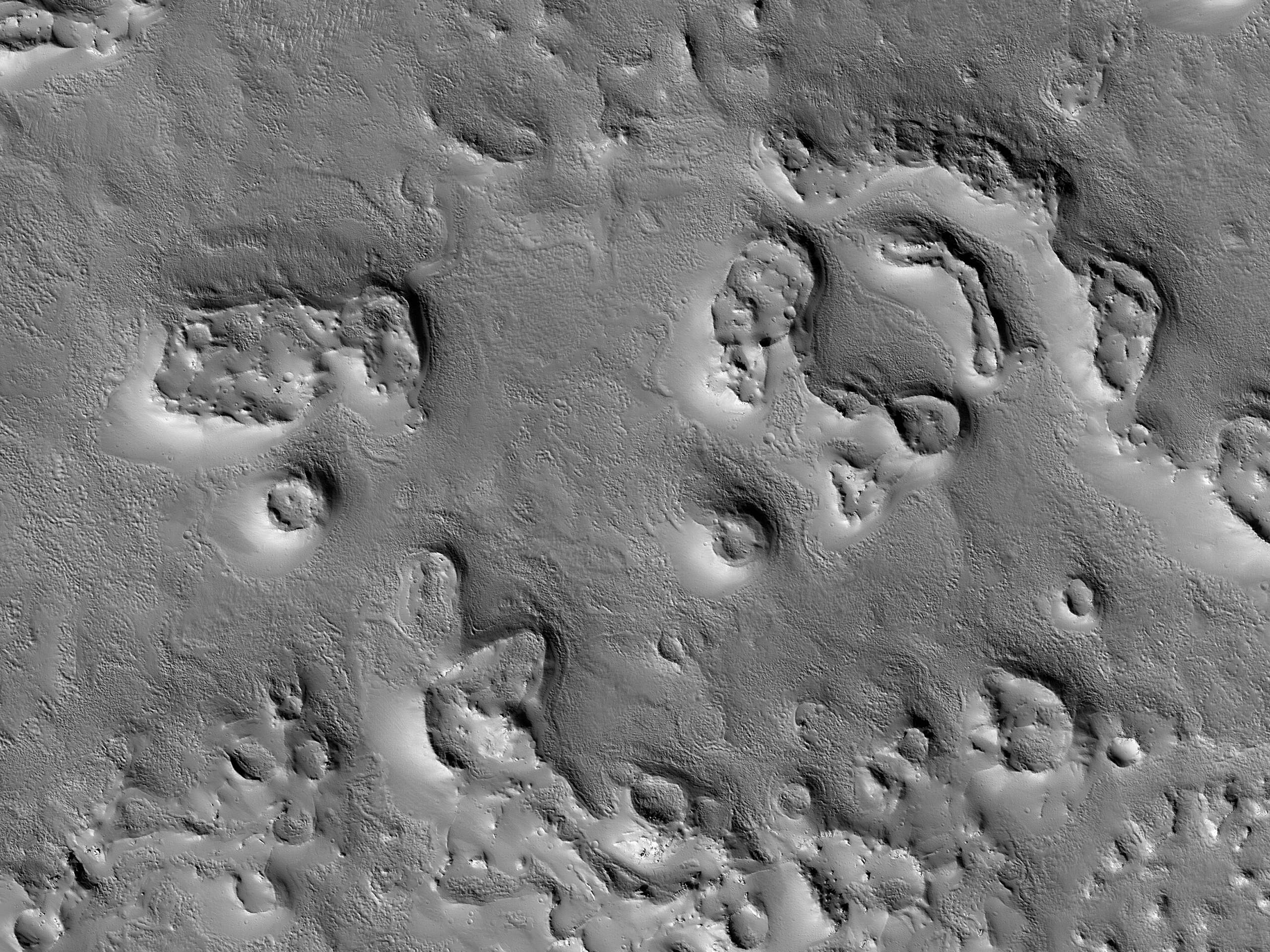 Circular Features North of Olympus Mons