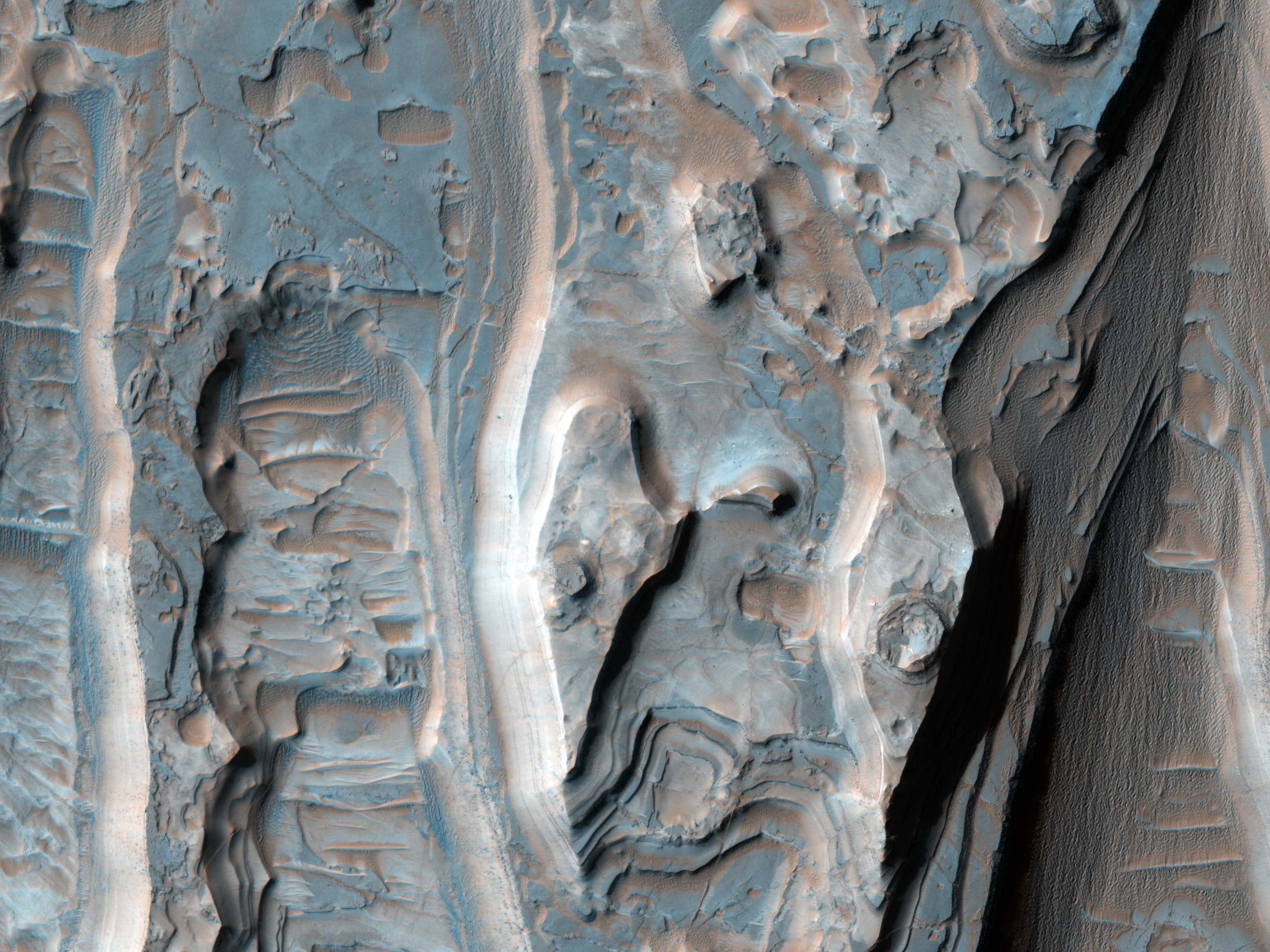 Eroding Layers in an Impact Crater