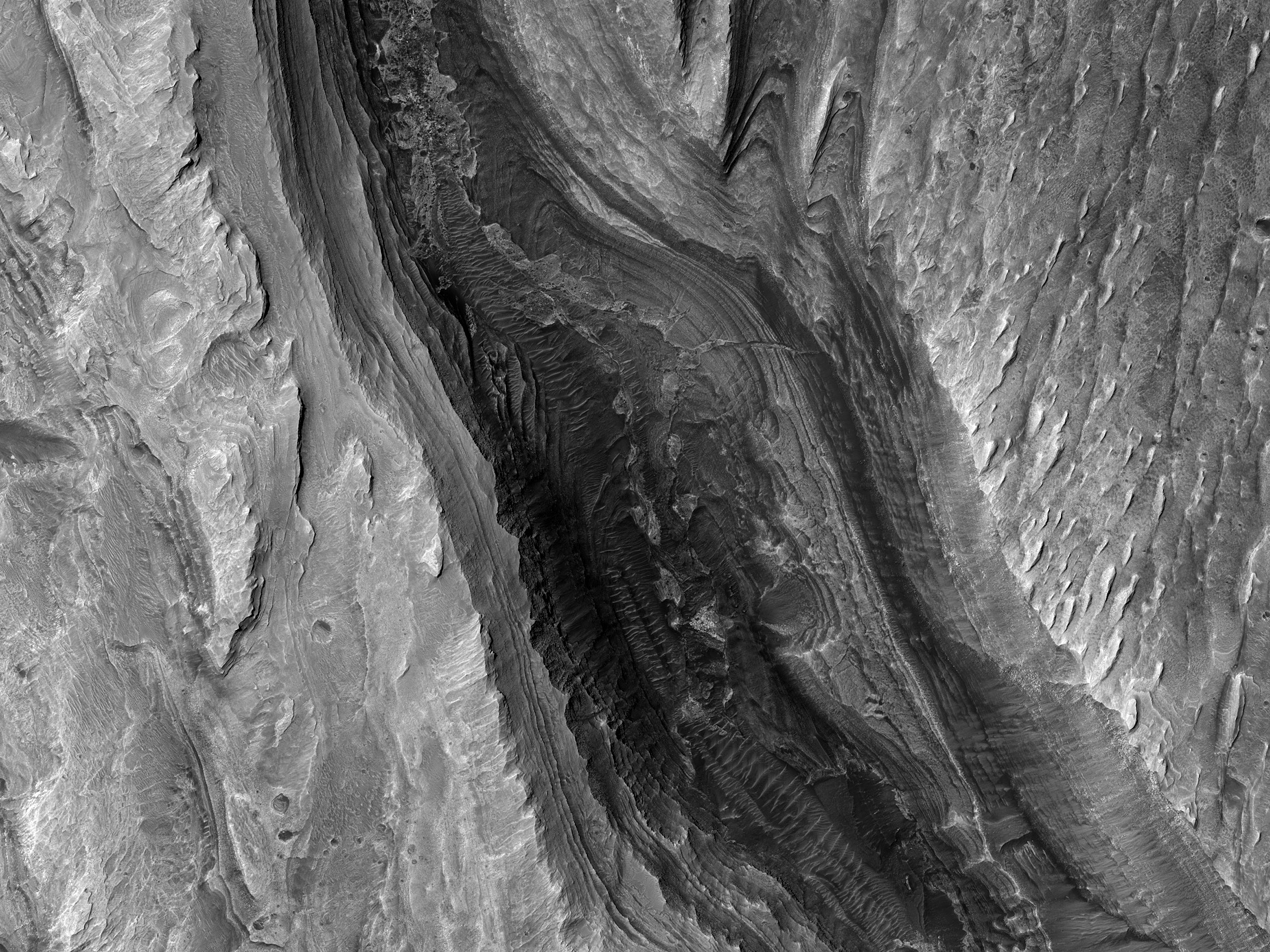 A Chasm in Gale Crater's Interior Mound
