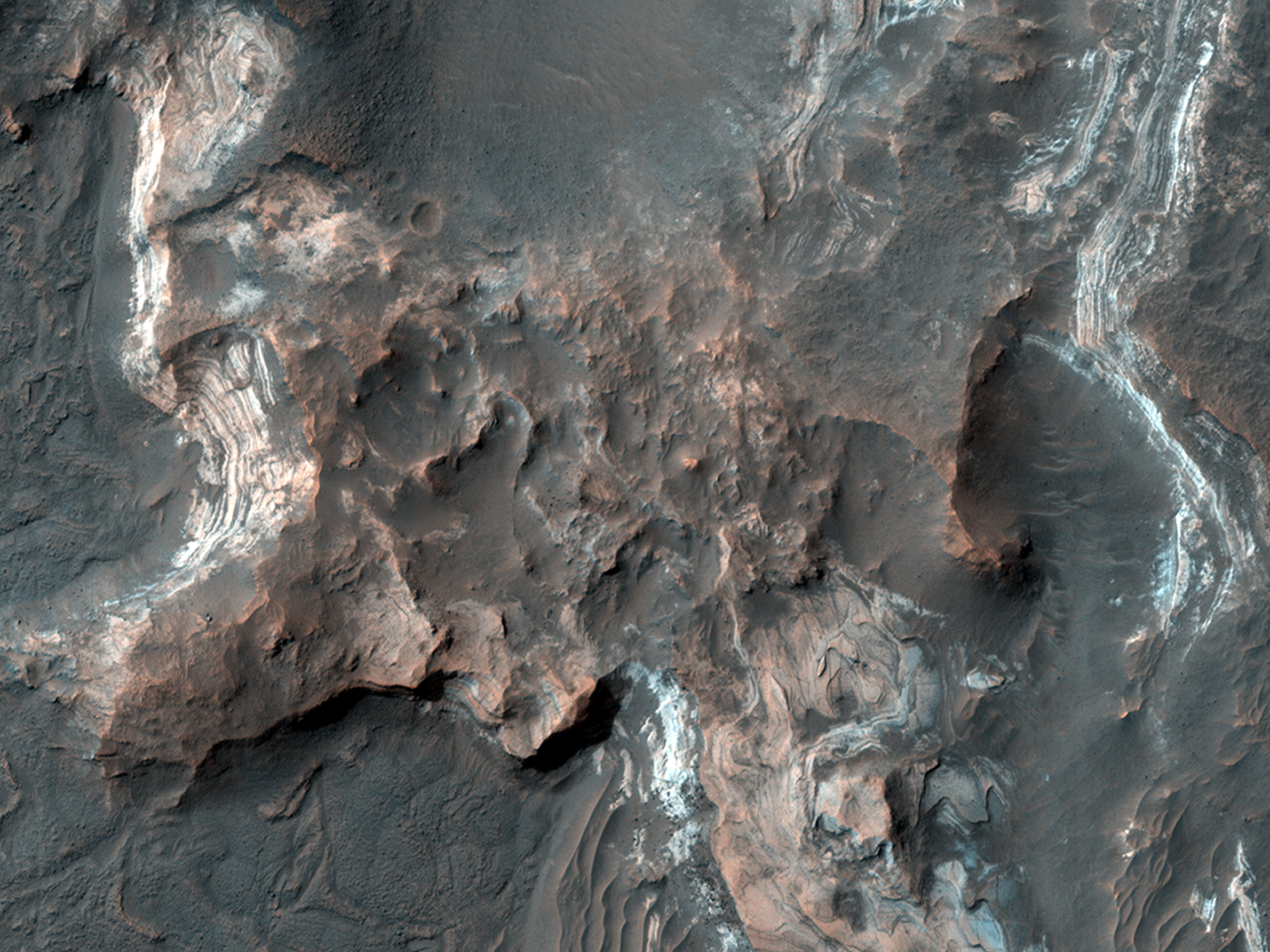Layered Rocks in Orson Welles Crater
