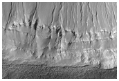 Crater with Gullies and Light-Toned Material on South Wall