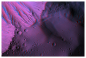 Anaglyph of the Basal Scarp of Olympus Mons Volcano