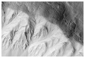 Gullies Cutting Southeast-Facing Slope of Impact Crater