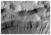 Gullies on Wall of Crater in Mariner Crater, As Seen in MOC Image E11-02204