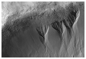Gullies in North Wall of Crater