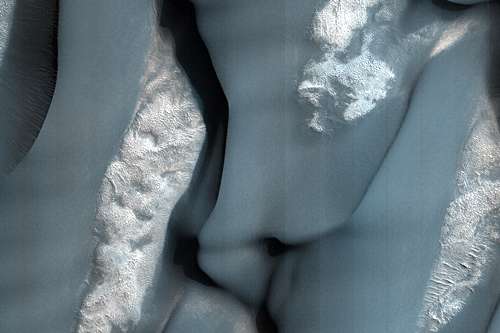 Saltating Gypsum into Dark Polar Dunes