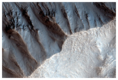 Gullies Previously Identified in the Walls of a Crater
