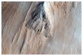 Flussi di lava  alla sommità di Olympus Mons