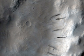 Amazonis Planitia Volcanic Stratigraphy in 5-Kilometer Diameter Crater