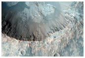 Crater with Light-Toned Floor and Ejecta Material Near Iani Chaos