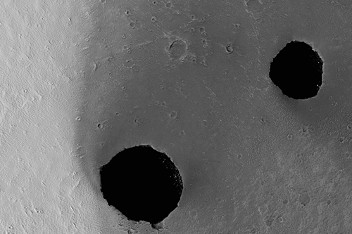 Dark Rimless Pits in the Tharsis Region