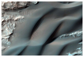 Dunes and Layered Bedrock on Floor of Large Crater in Xanthe Terra