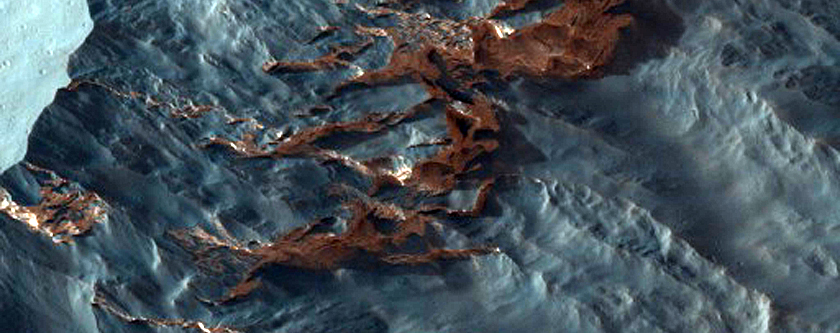 Mesa Armored by Impact Ejecta in Ganges Chasma