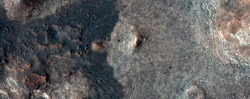 Crater on Floor of Mawrth Vallis Channel