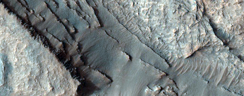 Layered Outcrops on Crater Floor