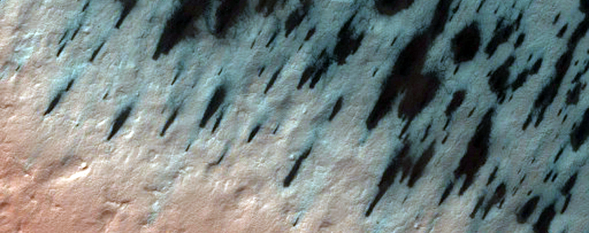 Spring View of Crater with South Polar Layered Material
