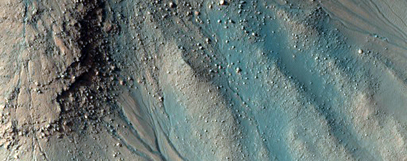 Cascading Channel in Noachis Pit Crater in MOC M12-00595