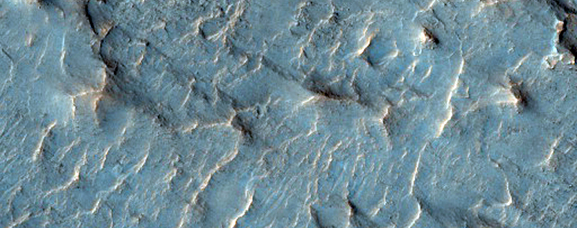 Layered Bedrock with Curvilinear Features on Floor of Schaeberle Crater