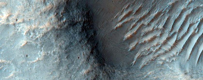Crossing Wrinkle Ridges in Tyrrhena Dorsa