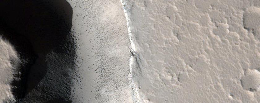 Valley in Elysium Region Volcanic Rise