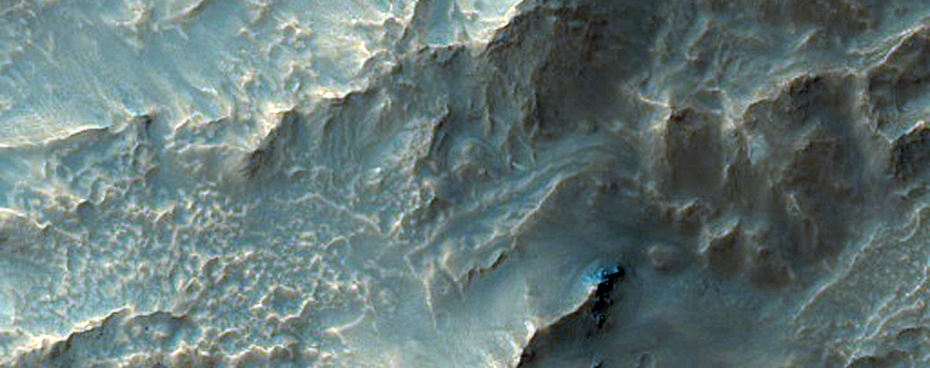 Gullies on the Northwest Rim of Hale Crater