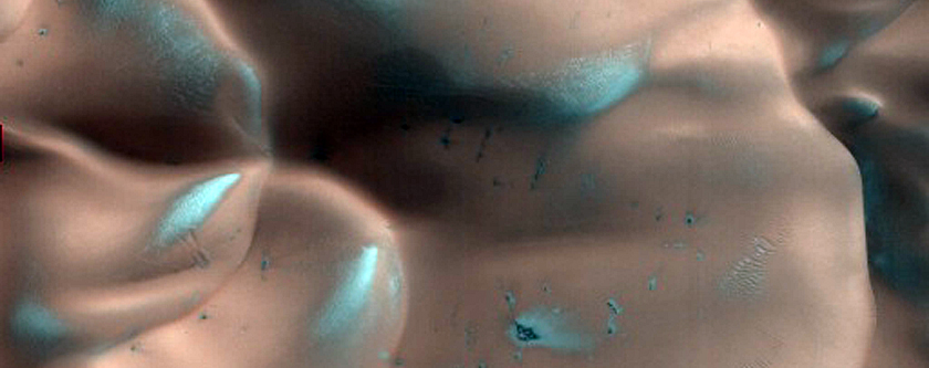Frost-Covered Dunes in a Crater