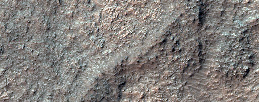 Excellent Exposure of Light-Toned Bedrock West of Terby Crater