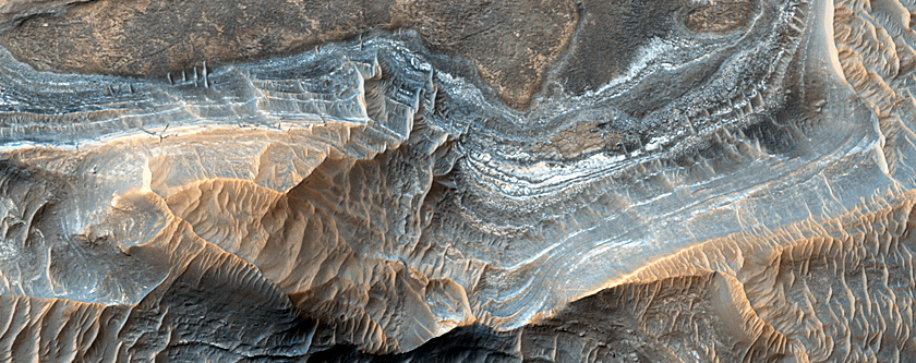 Light-Toned Layering on Plains Next to Ganges Chasma
