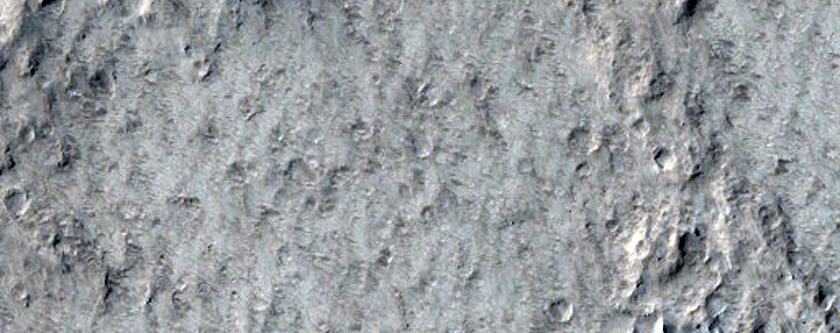 Amazonis Planitia and Crater with Wind Streak