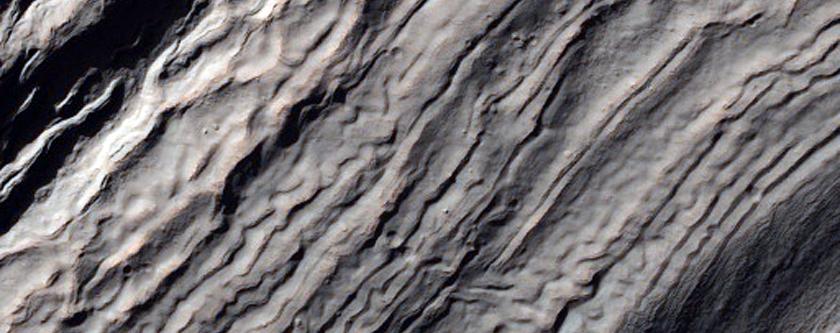 Strutture rocciose intra-cratere nella parte Nord-Ovest dell' Hellas Basin