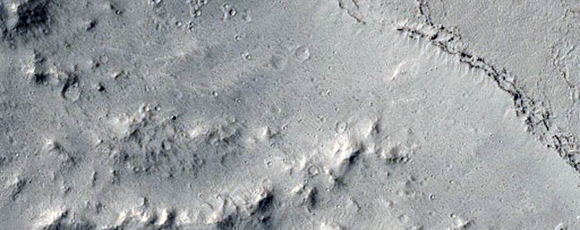 Viscous Flows and Persbo Crater Ejecta East of Athabasca Valles