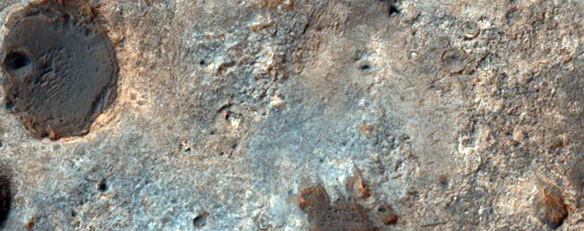 Possible Phyllosilicate-Rich Terrain on Edge of Rutherford Crater