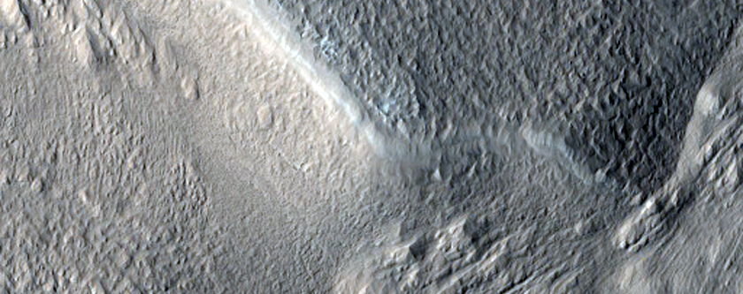 Channel in Mamers Valles Crater with Possible Phyllosilicates