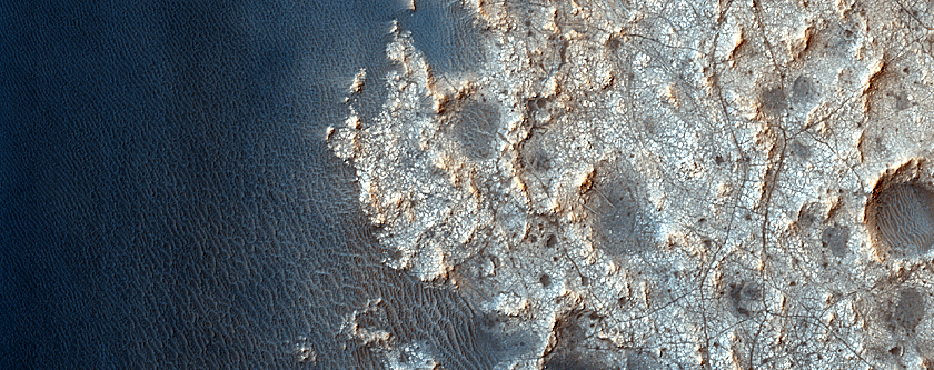 Dunes and Dust Devil Tracks in a Northeast Crater of Syrtis Major
