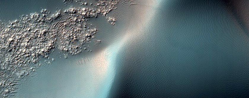 Dust Devil Tracks in Bunge Crater