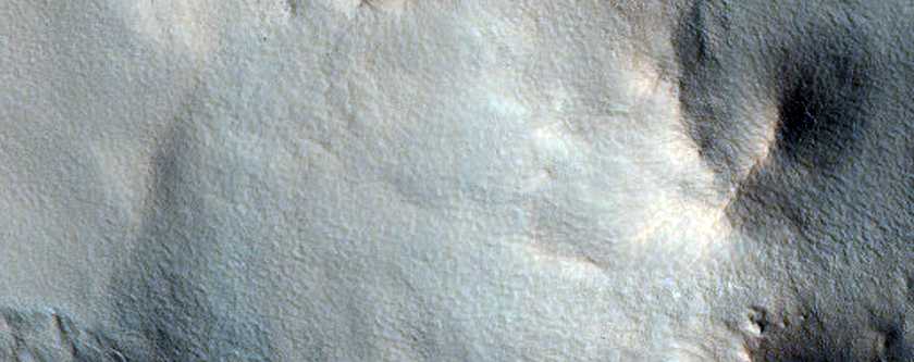 Northern Plains Crater with Summer Ice