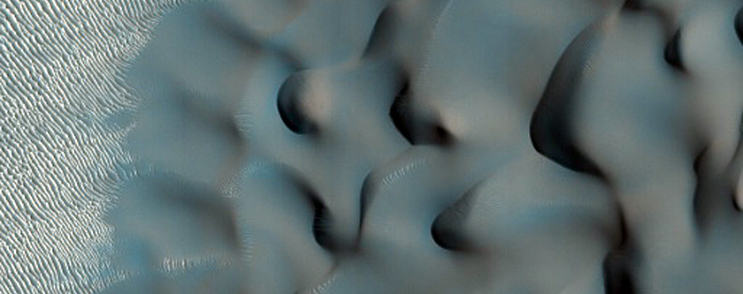Intra-Crater Dunes in Iaxartes Tholus