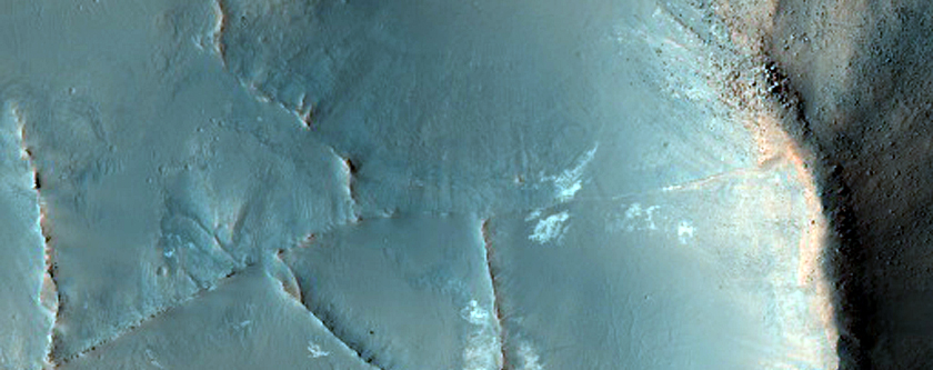Raised Polygonal Ridges and Light-Toned Material in Syrtis Region