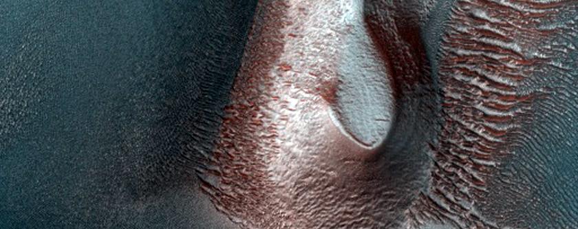 Dark Barchan Dunes with Two Slip Faces in Northwest Argyre Region