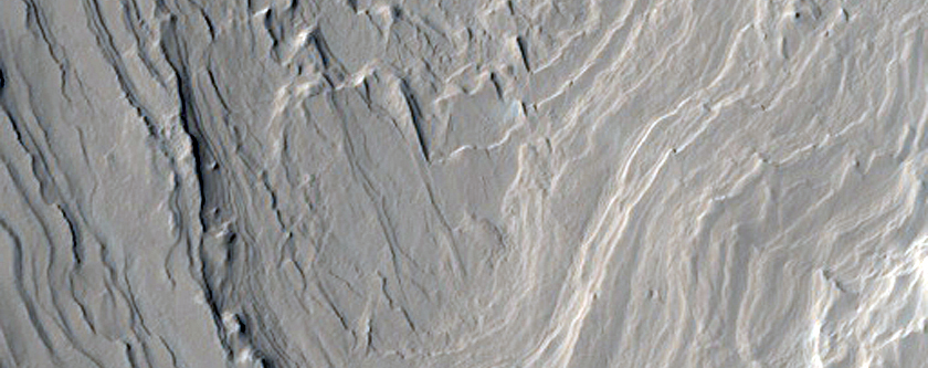 Layered Material on Henry Crater Wall