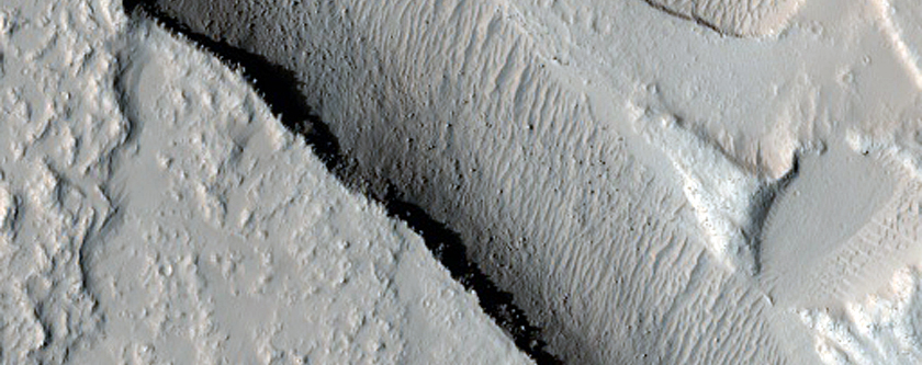 Graben Cutting Lava Flow in Tharsis