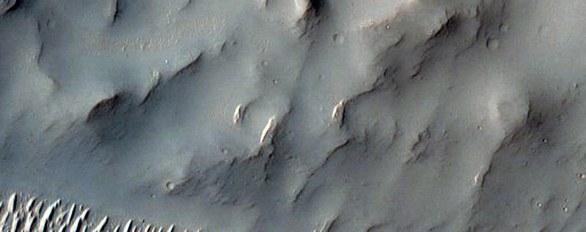 Eastern Portion of Central Uplift Complex of Bakhuysen Crater