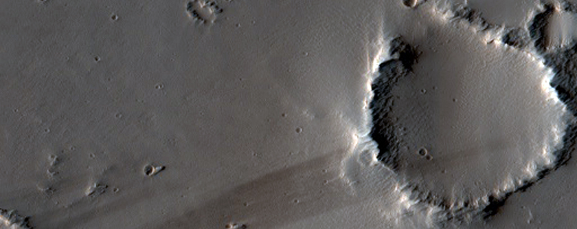 Young Crater and Wind Streaks