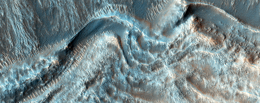Ridged Crater Floor and Gullies
