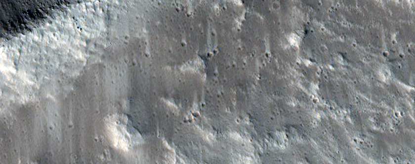Boulder Tracks in Crater in MOC Image R05-01434