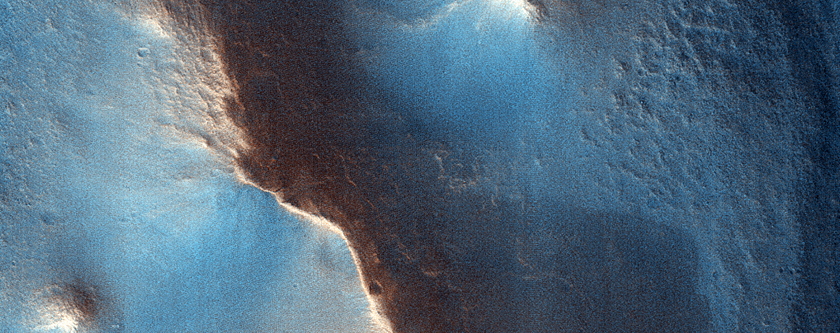 Potential Mars Landing Site Near Mounds Associated with Crater Rim